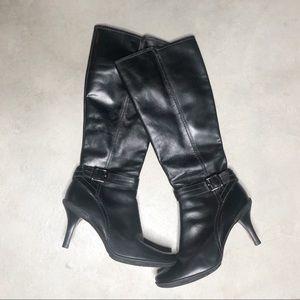 Gianni Bini Black Leather Heel Boots 9.5